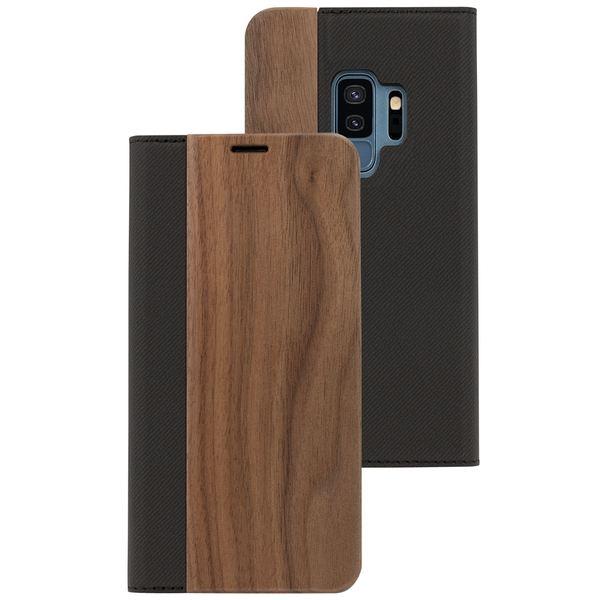 NALIA Echt-Holz Handyhülle für Samsung Galaxy S9 Plus, Handmade Natur-Holz Handy-Tasche Klapphülle Flip-Case, Dünnes Slim Kunst-leder Hardcase, Wood Cover Bumper für Samsung S9+ – Bild 2