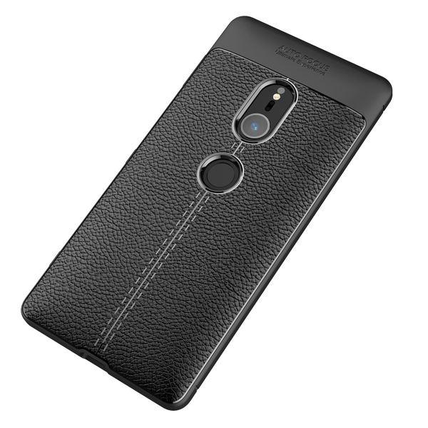 NALIA Leder-Look Handyhülle kompatibel mit Sony Xperia XZ2, Ultra Slim Silikon Case Cover, Dünne Phone Schutzhülle, Etui Handy-Tasche Back-Cover Bumper, TPU Gummihülle - Schwarz – Bild 5