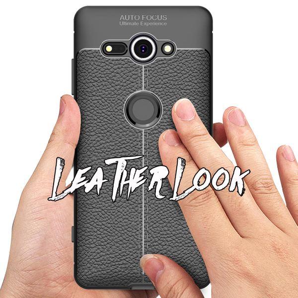 NALIA Leder-Look Handyhülle kompatibel mit Sony Xperia XZ2 Compact, Ultra Slim Silikon Case Cover, Dünner Phone Schutz, Etui Handy-Tasche Back-Cover Bumper, Gummihülle – Schwarz – Bild 7