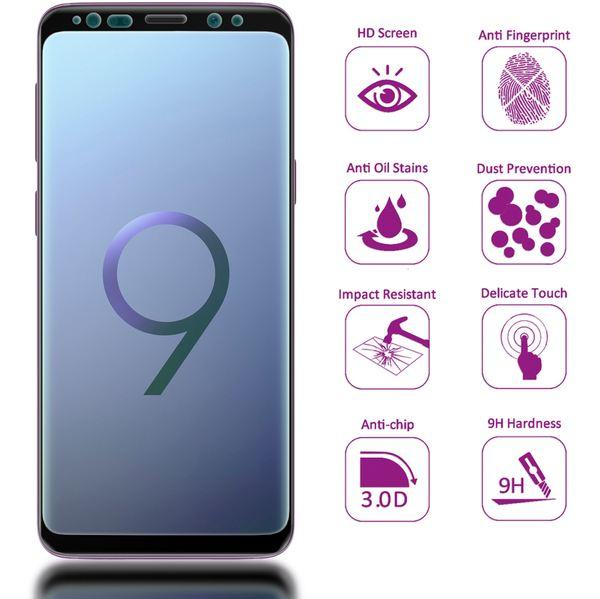 NALIA Schutzglas kompatibel mit Samsung Galaxy S9, 3D Full-Cover Displayschutz Hüllen-Kompatibel, 9H Glas-Schutzfolie Handy-Folie, Schutz-Film Smart-Phone HD Screen Protector - Transparent (schwarz) – Bild 3