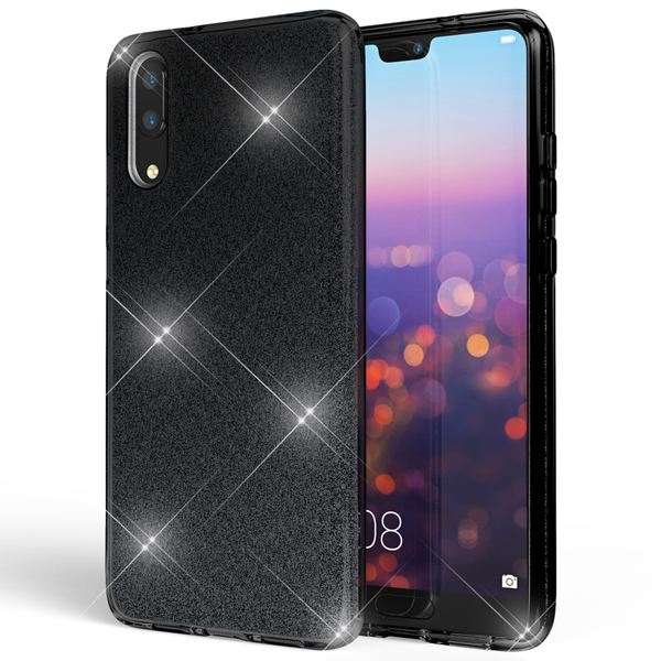 NALIA Handyhülle für Huawei P20, Glitzer Ultra-Slim Silikon-Case Back-Cover Schutzhülle, Glitter Sparkle Handy-Tasche Bumper, Dünnes Bling Strass Smart-Phone Etui für P-20 – Bild 2