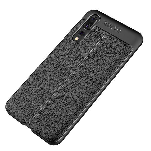 NALIA Leder-Look Handyhülle kompatibel mit Huawei P20 Pro, Ultra Slim Silikon Case Cover, Dünne Struktur Smart-Phone Schutzhülle, Etui Handy-Tasche Back-Cover Bumper, TPU Gummihülle - Schwarz – Bild 6