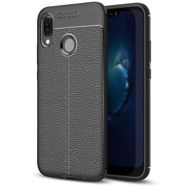 NALIA Leder-Look Handyhülle für Huawei P20 Lite, Ultra Slim Silikon Case Cover, Dünne Struktur Smart-Phone Schutzhülle, Etui Handy-Tasche Back-Cover Bumper, TPU Gummihülle für P20Lite - Schwarz – Bild 1