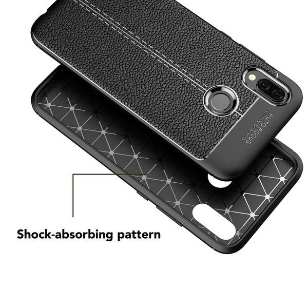 NALIA Leder-Look Handyhülle für Huawei P20 Lite, Ultra Slim Silikon Case Cover, Dünne Struktur Smart-Phone Schutzhülle, Etui Handy-Tasche Back-Cover Bumper, TPU Gummihülle für P20Lite - Schwarz – Bild 2