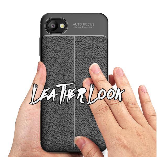 NALIA Leder-Look Handyhülle kompatibel mit HTC Desire 12, Ultra Slim Silikon Case Cover, Dünne Phone Schutzhülle, Etui Handy-Tasche Back-Cover Bumper, TPU Smart-Phone Gummihülle - Schwarz – Bild 6