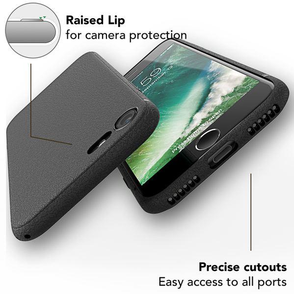 NALIA Leder-Look Hülle kompatibel mit iPhone 8, Ultra-Slim Handyhülle Silikon Case Cover, Dünne Smart-Phone Schutzhülle, Etui Handy-Tasche Back-Cover Bumper, TPU Gummihülle  - Schwarz – Bild 6