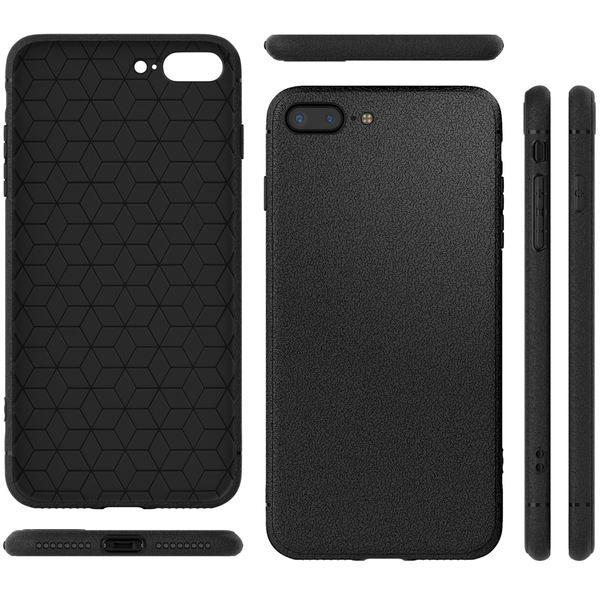 NALIA Leder-Look Hülle kompatibel mit iPhone 8 Plus, Ultra-Slim Handyhülle Silikon Case Cover, Dünne Phone Schutzhülle, Etui Handy-Tasche Back-Cover Bumper, TPU Gummihülle - Schwarz – Bild 7