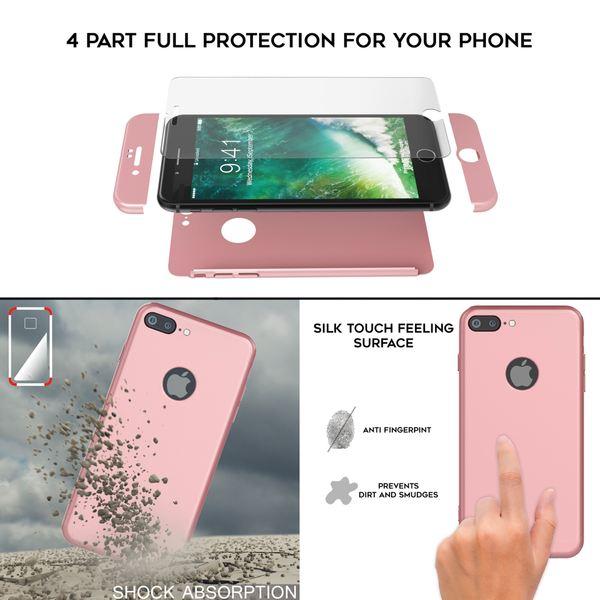 NALIA 360 Grad Handyhülle kompatibel mit iPhone 7 Plus, Full-Cover & Glas vorne hinten Hülle Doppel-Schutz Dünn Ganzkörper Hard-Case Etui Handy-Tasche Bumper & Displayschutz – Bild 12