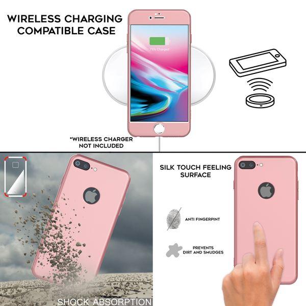 NALIA 360 Grad Handyhülle kompatibel mit iPhone 8 Plus, Full-Cover & Glas vorne hinten Hülle Doppel-Schutz Dünn Ganzkörper Hard-Case Etui Handy-Tasche Bumper & Displayschutz – Bild 6