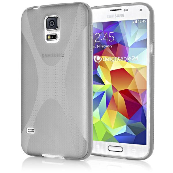 NALIA Handyhülle kompatibel mit Samsung Galaxy S5 Mini, Hülle Ultra-Slim Silikon Case, Dünne Crystal Schutzhülle Etui Handy-Tasche Schale Back-Cover Bumper, TPU Smart-Phone Gummi-Hülle - X-Line Grau – Bild 1