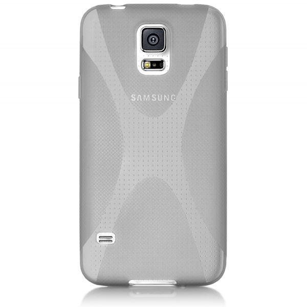 NALIA Handyhülle kompatibel mit Samsung Galaxy S5 Mini, Hülle Ultra-Slim Silikon Case, Dünne Crystal Schutzhülle Etui Handy-Tasche Schale Back-Cover Bumper, TPU Smart-Phone Gummi-Hülle - X-Line Grau – Bild 5
