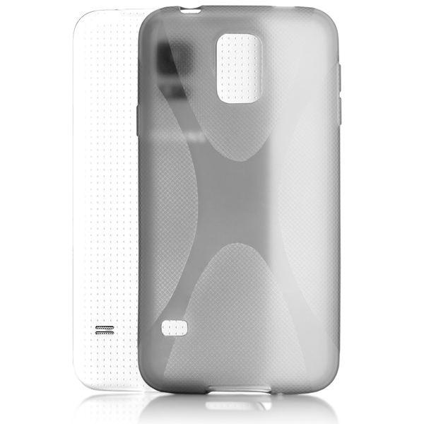 NALIA Handyhülle kompatibel mit Samsung Galaxy S5 Mini, Hülle Ultra-Slim Silikon Case, Dünne Crystal Schutzhülle Etui Handy-Tasche Schale Back-Cover Bumper, TPU Smart-Phone Gummi-Hülle - X-Line Grau – Bild 2