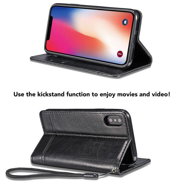 NALIA Klapphülle kompatibel mit iPhone X XS, Slim Hülle Kickstand Handyhülle Flip-Case Kunst-Leder Cover mit Magnet, Etui Schutz Dünne Rundum Handy-Tasche Ganz Bumper – Bild 3
