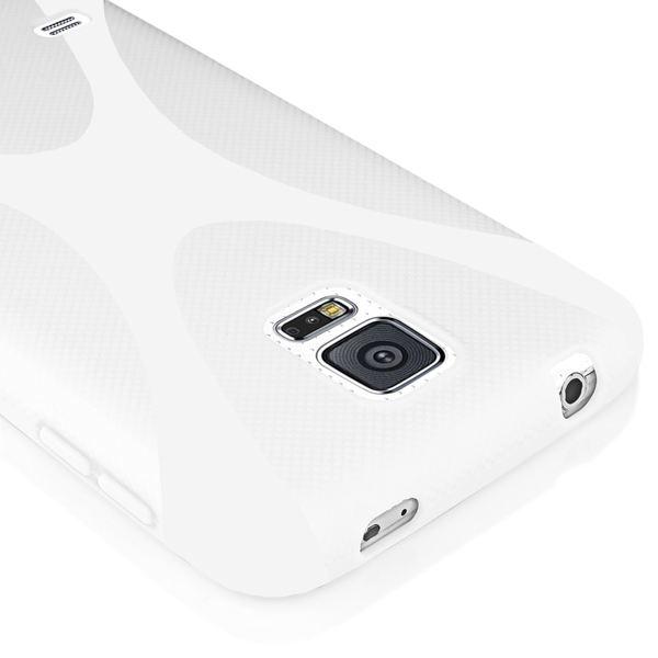 NALIA Handyhülle kompatibel mit Samsung Galaxy S5 Mini, Hülle Ultra-Slim Silikon Case, Dünne Crystal Schutzhülle Etui Handy-Tasche Schale Back-Cover Bumper, TPU Smart-Phone Gummi-Hülle - X-Line Weiß – Bild 3