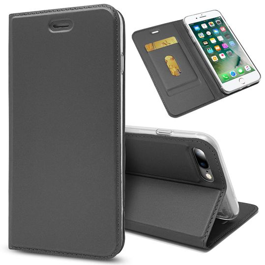 Apple iPhone 8 Plus / 7 Plus Klapphülle von NALIA, Slim Kickstand Handyhülle Flip-Case Kunstleder Cover mit Magnet Etui Ganzkörper Schutz Dünne Rundum Tasche, Etui für i-P 7+ / 8+ – Bild 9