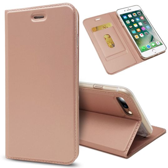 Apple iPhone 8 Plus / 7 Plus Klapphülle von NALIA, Slim Kickstand Handyhülle Flip-Case Kunstleder Cover mit Magnet Etui Ganzkörper Schutz Dünne Rundum Tasche, Etui für i-P 7+ / 8+ – Bild 2