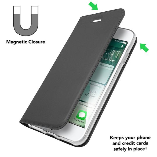 Apple iPhone 8 Plus / 7 Plus Klapphülle von NALIA, Slim Kickstand Handyhülle Flip-Case Kunstleder Cover mit Magnet Etui Ganzkörper Schutz Dünne Rundum Tasche, Etui für i-P 7+ / 8+ – Bild 4