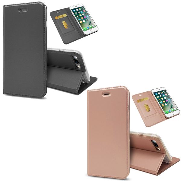NALIA Klapphülle für Apple iPhone 8 Plus / 7 Plus, Slim Kickstand Handyhülle Flip-Case Kunstleder Cover mit Magnet Etui Ganzkörper Schutz Dünne Rundum Tasche, Etui für i-P 7+ / 8+ – Bild 1