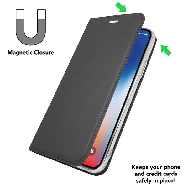 NALIA Klapphülle kompatibel mit iPhone X XS, Slim Kickstand Handyhülle Flip-Case Kunstleder Book-Cover mit Magnet, Etui Ganzkörper Hülle Schutz Dünne Handy-Tasche Bumper – Bild 11
