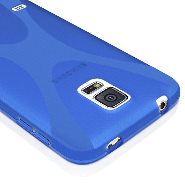 NALIA Handyhülle kompatibel mit Samsung Galaxy S5 Mini, Hülle Ultra-Slim Silikon Case, Dünne Crystal Schutzhülle Etui Handy-Tasche Schale Back-Cover Bumper, TPU Smart-Phone Gummi-Hülle - X-Line Blau – Bild 3