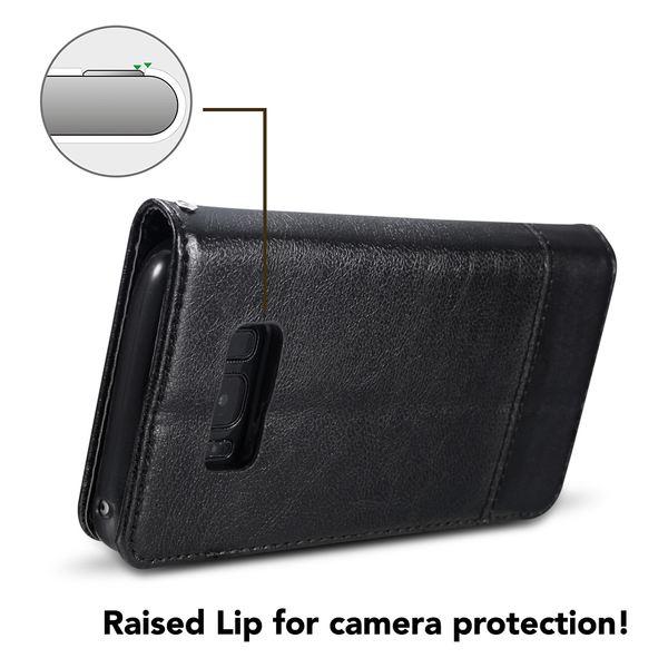 NALIA Klapphülle kompatibel mit Samsung Galaxy S8 Plus, Slim Kickstand Handyhülle Flip-Case Kunst-Leder Cover mit Magnet, Etui Ganzkörper Schutz Dünne Rundum Handy-Tasche Bumper – Bild 6