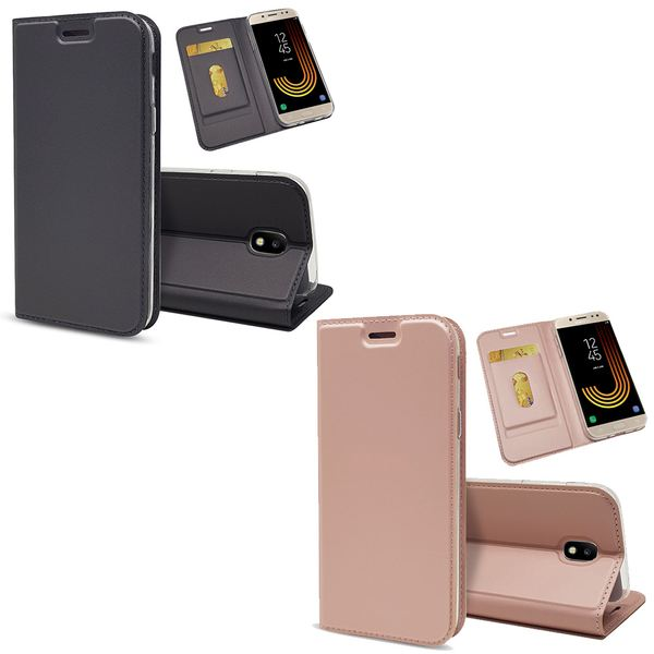 NALIA Klapphülle kompatibel mit Samsung Galaxy J3 2017, Slim Kickstand Handyhülle Flip-Case Kunstleder Cover mit Magnet Ganzkörper Schutz Dünne Rundum Handy-Tasche Etui – Bild 1