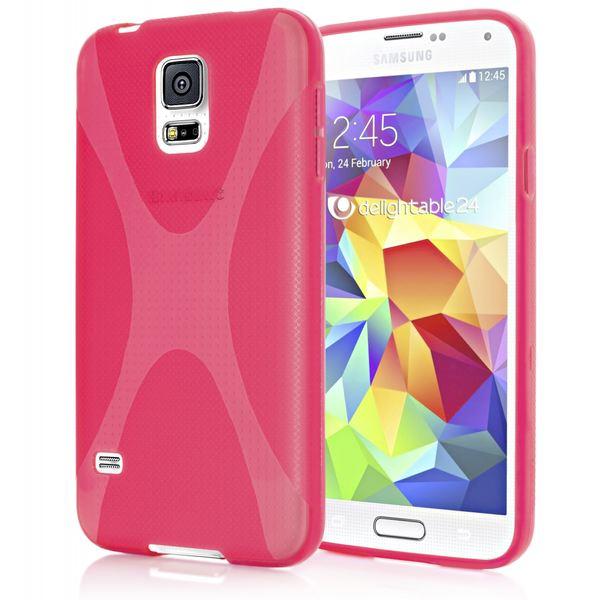 NALIA Handyhülle kompatibel mit Samsung Galaxy S5 Mini, Hülle Ultra-Slim Silikon Case, Dünne Crystal Schutzhülle Etui Handy-Tasche Schale Back-Cover Bumper, TPU Smart-Phone Gummi-Hülle - X-Line Pink – Bild 1