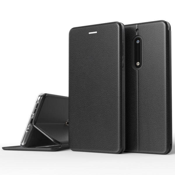 NALIA Klapphülle kompatibel mit Nokia 5, Slim Stand Handy-Hülle Flip-Case Kunst-Leder Vegan Wallet Cover mit Magnet, Etui Ganzkörper Schutz Dünne Hinten Vorne Rundum Handy-Tasche Bumper - Schwarz – Bild 1