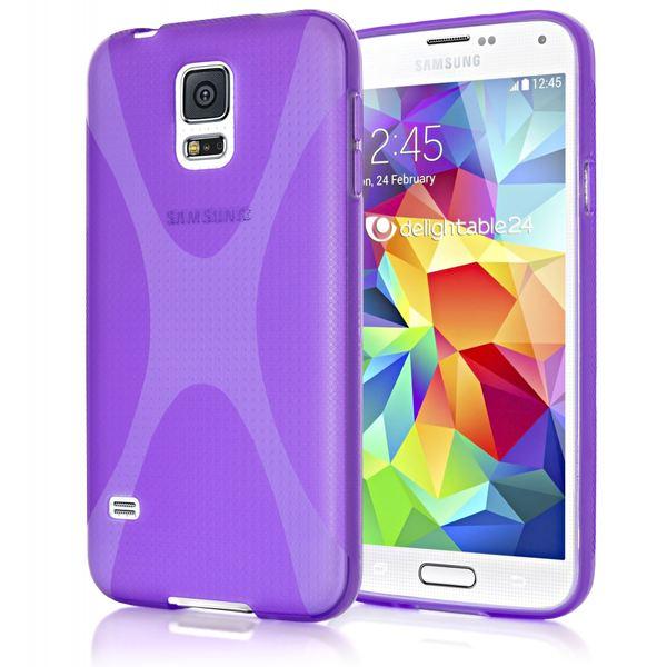 NALIA Handyhülle kompatibel mit Samsung Galaxy S5 Mini, Hülle Ultra-Slim Silikon Case, Dünne Crystal Schutzhülle Etui Handy-Tasche Schale Back-Cover Bumper, TPU Smart-Phone Gummi-Hülle - X-Line Lila – Bild 1