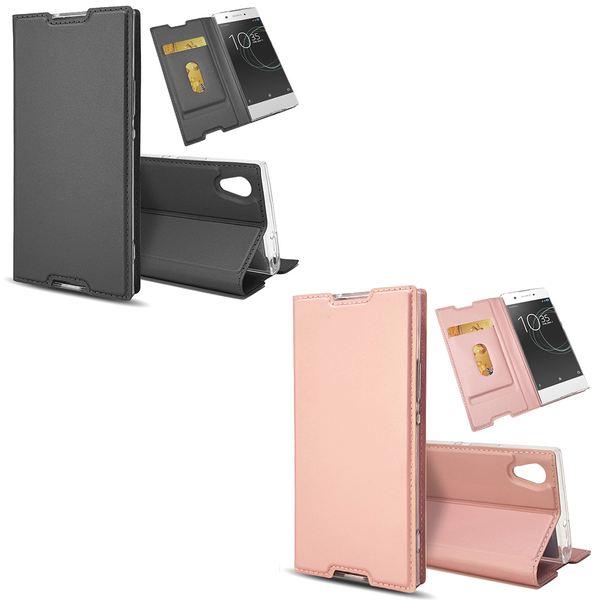NALIA Klapphülle kompatibel mit Sony Xperia XA1, Slim Kickstand Handyhülle Flip-Case Kunstleder Book-Cover Magnet Etui Ganzkörper Schutz Dünne Back Rundum Handy-Tasche Etui – Bild 1