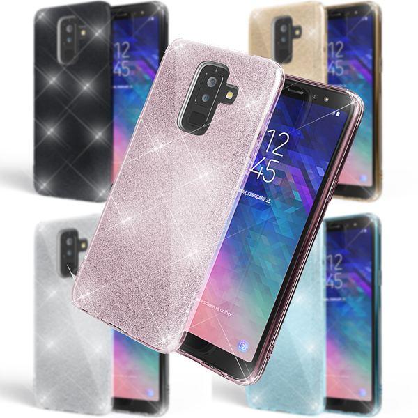 NALIA Glitter Hülle kompatibel mit Samsung Galaxy A6 Plus, Glitzer Handyhülle Ultra-Slim Silikon-Case Back-Cover Schutzhülle, Sparkle Handy-Tasche Bumper, Dünnes Bling Strass Etui – Bild 1