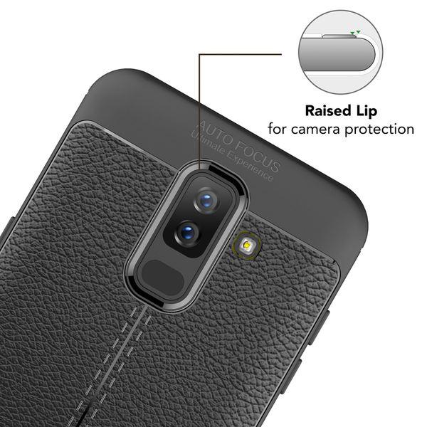 NALIA Leder-Look Handyhülle kompatibel mit Samsung Galaxy A6 Plus, Ultra Slim Silikon Case Cover, Dünne Smart-Phone Schutzhülle, Etui Handy-Tasche Back-Cover Bumper TPU Gummihülle - Schwarz – Bild 6