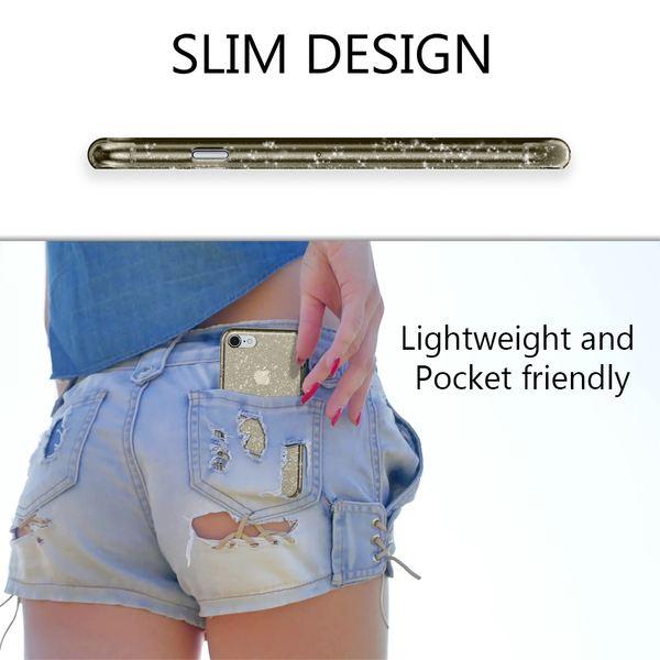 NALIA Glitter Hülle kompatibel mit iPhone 8 / 7, Glitzer Handyhülle Slim Silikon Handy Case Back-Cover Schutz-Hülle, Sparkle Handy-Tasche Bumper, Dünnes Bling Strass Etui – Bild 6