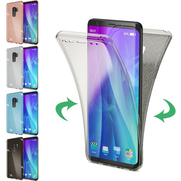 NALIA Glitzer Hülle 360 Grad kompatibel mit Samsung Galaxy S9 Plus, Handyhülle Full Cover vorne hinten Glitter Doppel-Schutz, Dünnes Silikon Case Transparente Display- & Rückseite – Bild 1