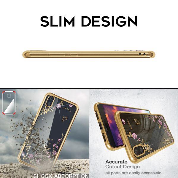 NALIA Hülle für Huawei P20, Durchsichtiges Slim Silikon Case Handyhülle, Blumen-Muster Metall-Optik Dünne Schutzhülle Glitzer-Steine Bling Cover Etui, Bumper Handy-Tasche für Huawei P-20 – Bild 5