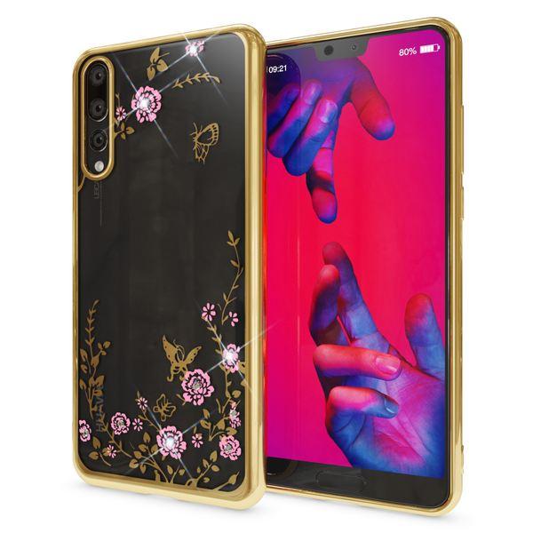 NALIA Hülle kompatibel mit Huawei P20 Pro, Durchsichtige Handyhülle Slim Silikon Case Blumen-Muster, Metall-Optik Dünne Schutzhülle Glitzer-Steine Bling Cover Etui, Bumper Handy-Tasche – Bild 2