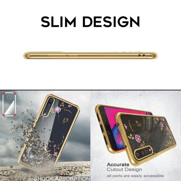 NALIA Hülle kompatibel mit Huawei P20 Pro, Durchsichtige Handyhülle Slim Silikon Case Blumen-Muster, Metall-Optik Dünne Schutzhülle Glitzer-Steine Bling Cover Etui, Bumper Handy-Tasche – Bild 7