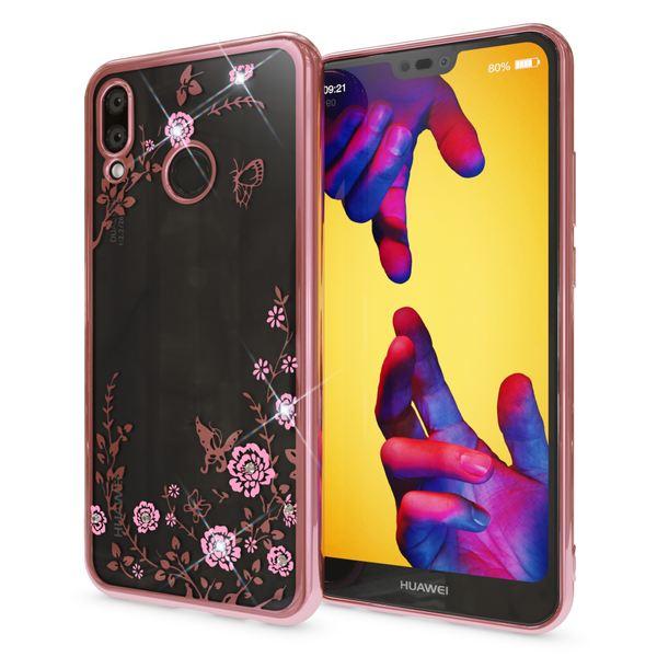 NALIA Hülle kompatibel mit Huawei P20 Lite, Durchsichtige Handyhülle Slim Silikon Case Blumen-Muster, Metall Dünne Schutzhülle Glitzer-Steine Bling Cover Etui, Bumper Handy-Tasche – Bild 8