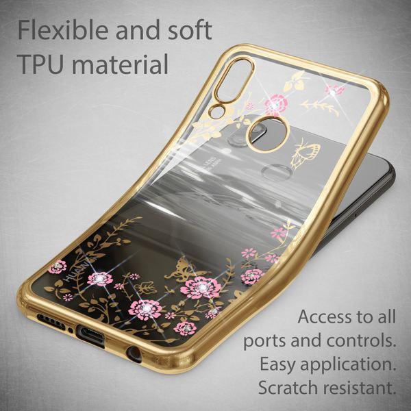 NALIA Hülle kompatibel mit Huawei P20 Lite, Durchsichtige Handyhülle Slim Silikon Case Blumen-Muster, Metall Dünne Schutzhülle Glitzer-Steine Bling Cover Etui, Bumper Handy-Tasche – Bild 10
