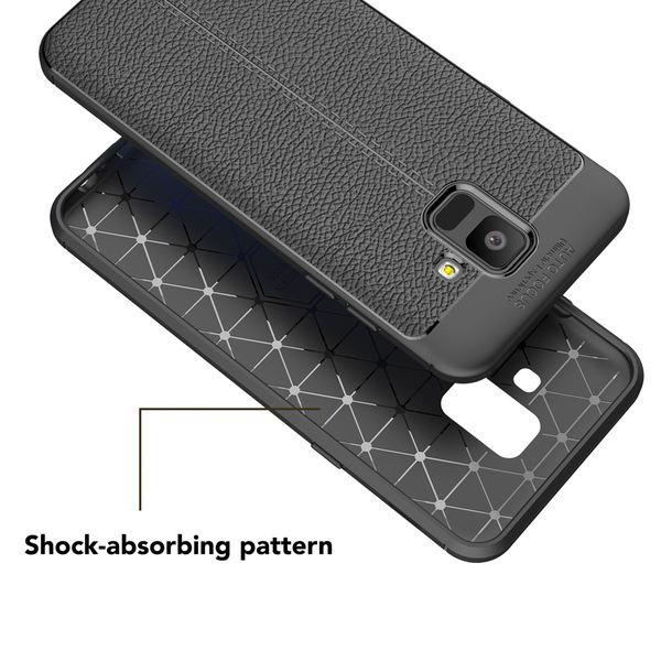NALIA Leder-Look Handyhülle kompatibel mit Samsung Galaxy A6, Ultra Slim Silikon Case Cover, Dünne Smart-Phone Schutzhülle, Etui Handy-Tasche Back-Cover Bumper, TPU Gummihülle - Schwarz – Bild 5