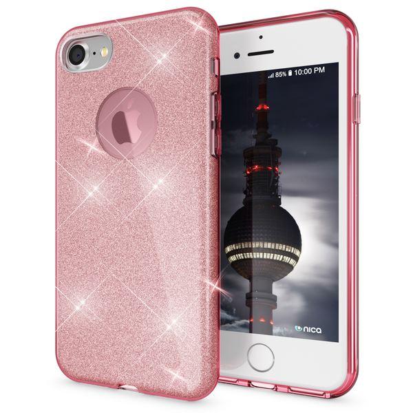NALIA Hülle kompatibel mit iPhone 8, Glitzer Handyhülle Ultra-Slim Silikon-Case Back-Cover Schutzhülle, Glitter Sparkle Handy-Tasche Bumper, Dünnes Bling Strass Etui – Bild 7