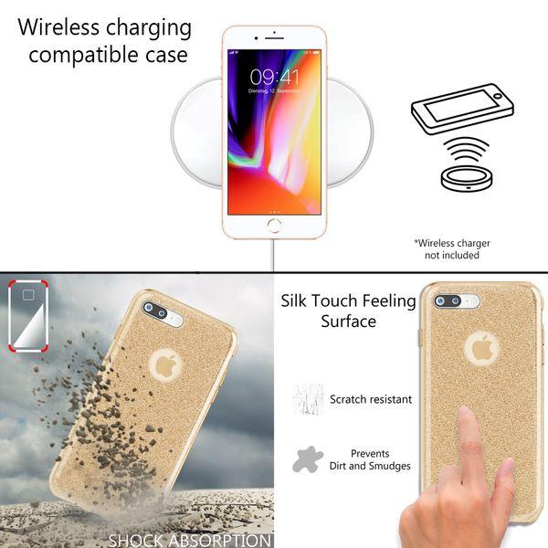 NALIA Handyhülle kompatibel mit iPhone 8 Plus, Glitzer Hülle Ultra-Slim Silikon Case Cover Schutzhülle, Glitter Sparkle Handy-Tasche Bumper, Dünnes Bling Strass Etui – Bild 6