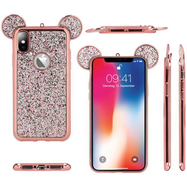 NALIA Hülle kompatibel mit iPhone X XS, Handyhülle Glitzer Slim Back-Cover Case Maus Ohren, Glitter Silikonhülle Schutz Dünnes Strass Bling Etui, Handy-Tasche Bumper – Bild 6