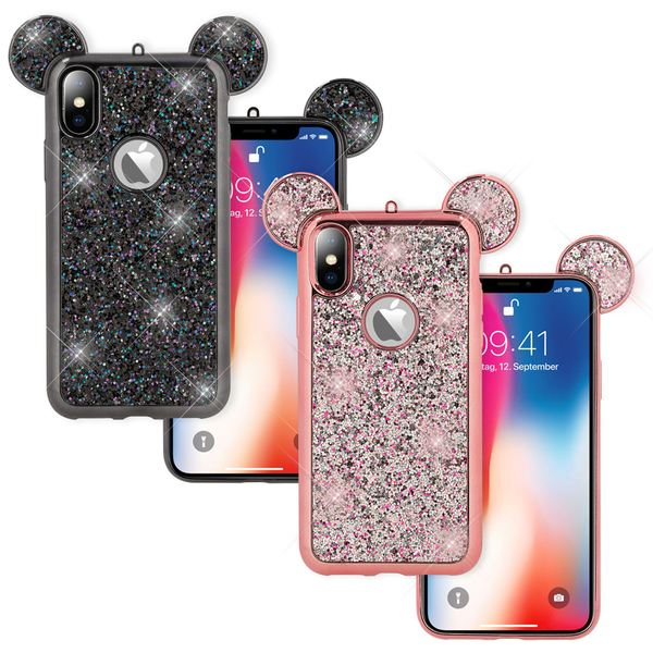 NALIA Hülle für iPhone X XS, Handyhülle Glitzer Slim Back-Cover Case Maus Ohren, Glitter Silikonhülle Schutz Dünnes Strass Bling Etui, Handy-Tasche Bumper für Apple i-Phone XS X – Bild 1