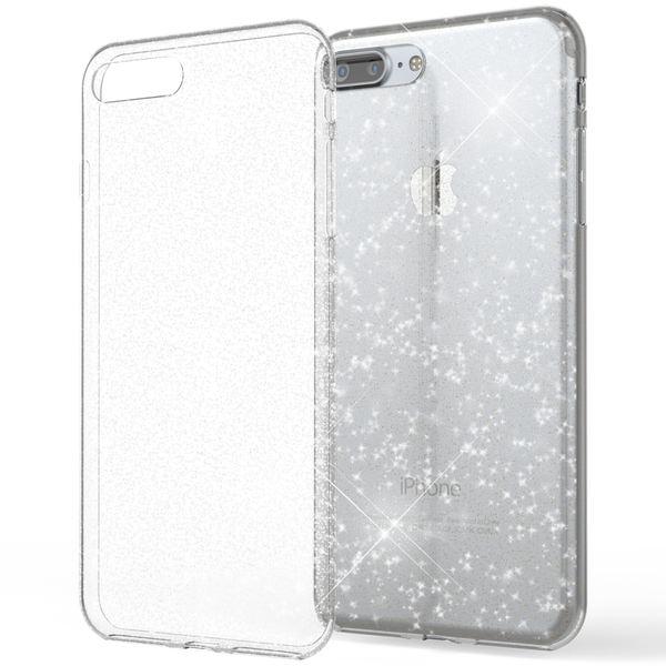 NALIA Handyhülle kompatibel mit iPhone 8 Plus / 7 Plus, Glitzer Cover Hülle Ultra-Slim Transparent Silikon Case Backcover Schutzhülle, Glitter Bumper, Dünn Bling Etui – Bild 2