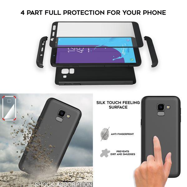 NALIA 360 Grad Handyhülle kompatibel mit Samsung Galaxy J6, Full-Cover & Glas vorne hinten Hülle Doppel-Schutz, Dünn Ganzkörper Hard-Case Etui Handy-Tasche, Bumper & Displayschutz – Bild 6