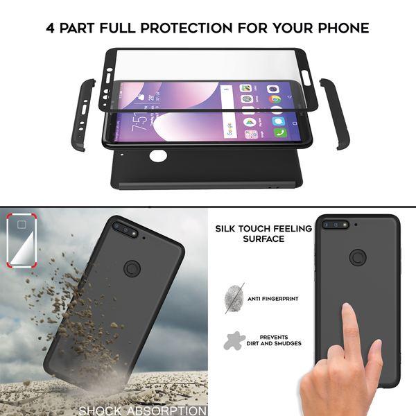 NALIA 360 Grad Handyhülle kompatibel mit Huawei Y7 2018, Full-Cover & Glas vorne hinten Rundum Hülle Doppel-Schutz Dünn Ganzkörper Hard-Case Etui Handy-Tasche, Bumper & Displayschutz – Bild 12