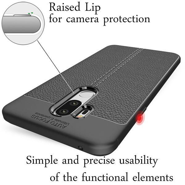 NALIA Leder-Look Hülle kompatibel mit LG G7 ThinQ, Ultra-Slim Silikon Case Cover, Dünne Handyhülle Schutzhülle, Stoßfeste Etui Handy-Tasche Backcover Bumper, Smartphone Gummihülle - Schwarz – Bild 2