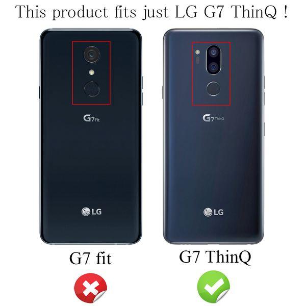 NALIA Leder-Look Hülle kompatibel mit LG G7 ThinQ, Ultra-Slim Silikon Case Cover, Dünne Handyhülle Schutzhülle, Stoßfeste Etui Handy-Tasche Backcover Bumper, Smartphone Gummihülle - Schwarz – Bild 3