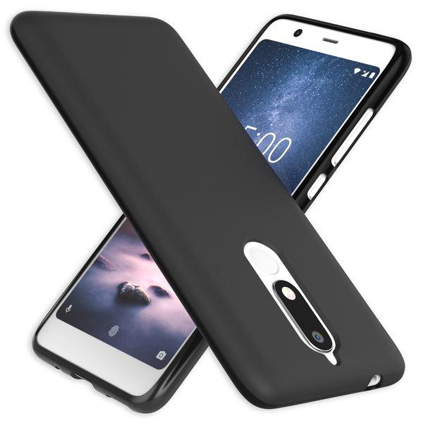 NALIA Hülle kompatibel mit Nokia 5.1 2018, Ultra-Slim Handyhülle Silikon Case Cover, Dünne matte Schutzhülle, Etui Handy-Tasche Back-Cover Bumper, TPU Smartphone Gummihülle - Schwarz – Bild 1